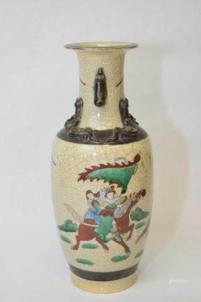 19-20th C. Chinese Faux Ge Glaze Wucai Figure Vase