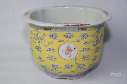 Qing Chinese Yellow Glaze Famille Rose Flower Pot