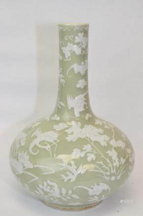 Qing Chinese Pea Glaze Pate-sur-Pate Vase