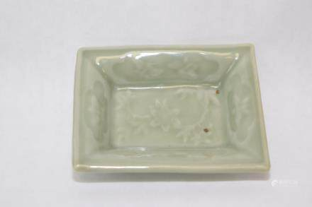 19th C. Chinese Pea Glaze Relief Carved Ink Plate