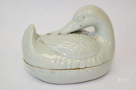 19th C. Chinese Pea Glaze Relief Carved Duck Box
