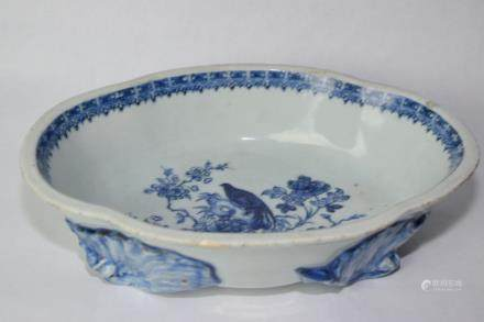 19th C. Chinese Blue and White Footed Brush Washer