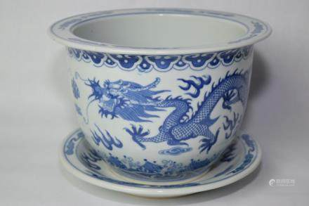 Chinese Blue and White Dragons Flower Pot and Plate