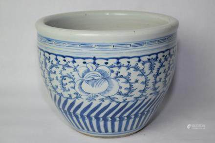 19th C. Chinese Blue and White Table Top Jardiniere