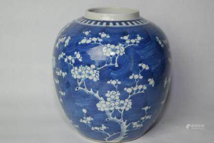 18-19th C. Chinese Blue and White Plum Jar