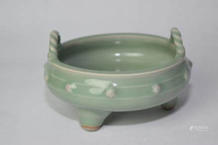 19-20th C. Chinese Pea Glaze Footed Censer