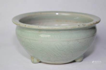 Ming Chinese Footed Longquan Relief Carved Censer