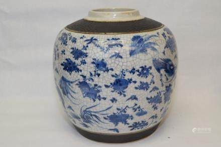 19th C. Chinese Faux Ge Glaze B&W Jar