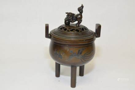 19th C. Japanese Bronze Incense Burner
