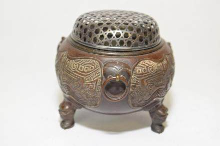 19th C. Japanese Silver Cover Carved Incense Burner