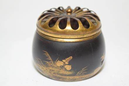 19th C. Japanese Gilt Bronze Incense Burner