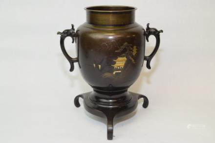 19-20th C. Japanese Bronze Vase