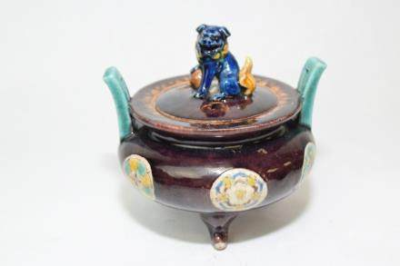 19-20th C. Japanese Purple Glaze Sancai Censer