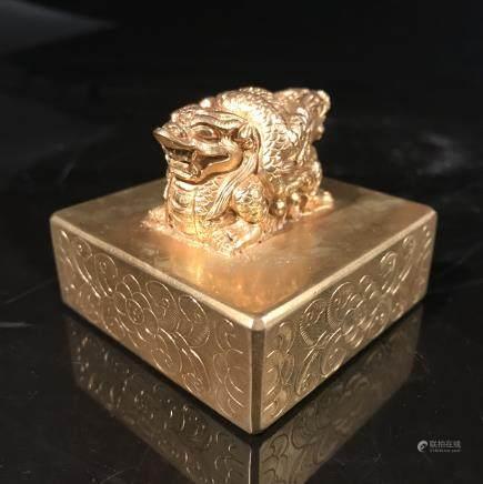 Chinese Gilt Bronze Two-Head Ruishou Seal
