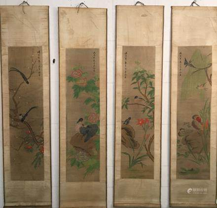 4 Pieces of Chinese Hanging Scroll of 'Birds' Painting