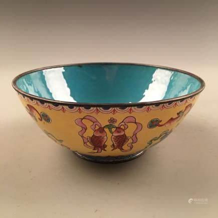 Chinese Enamel Bowl, Qianlong Mark
