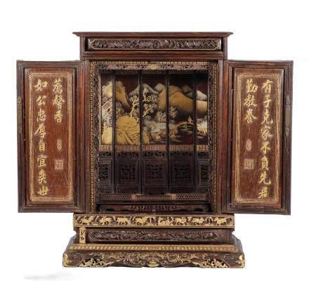 清代  高浮雕描金红木盒