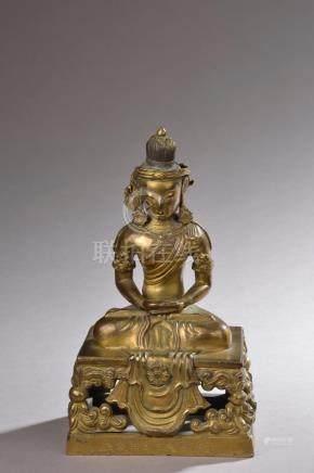 CHINE - Époque QIANLONG (1736 - 1795).Statuette de bouddha Amitayus en bronze d