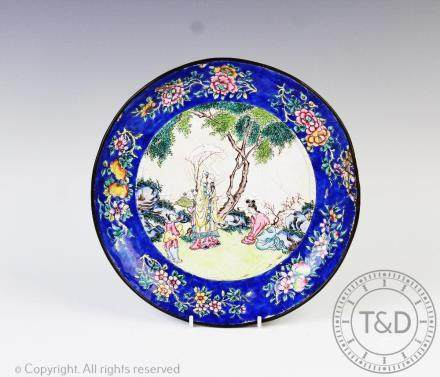 A Chinese enamel dish, early 19th century,