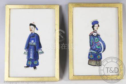 Chinese School (19th century), Pair of gouache pith paper paintings, Emperor and Empress,