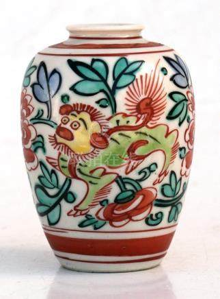 A Japanese satsuma vase decorated dragons and flowers. 9cm (3.5 ins) high