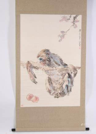 A contemporary Chinese scroll painting depicting a monkey with peaches by Tang Ming Zhe.Condition