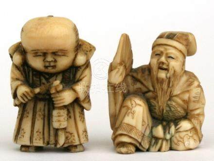 A 19th century Japanese ivory netsuke depicting a Samurai. 3cm (1.25 ins) high together with a