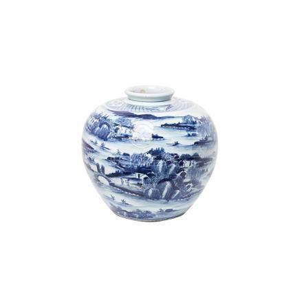 Jarrón en porcelana china azul y blanca con decoración paisajística y de figuras, segundo cuarto del