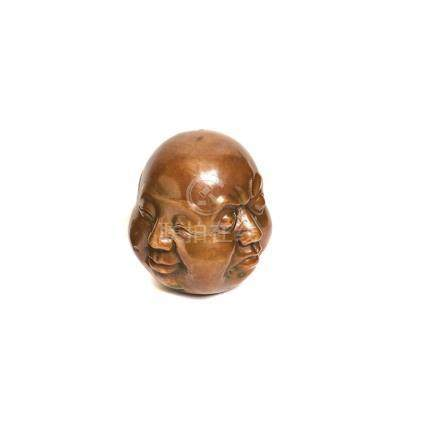 Buda. Cabeza china con cuatro caras en bronce, segunda mitad del s.XX. 20 x 16 x 16 cm.