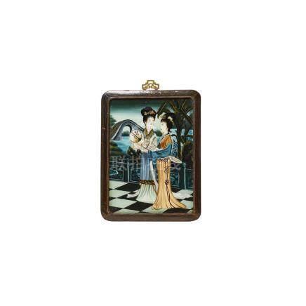 Escuela china, mediados del s.XX. Geishas en paisaje. Óleo bajo cristal. Enmarcado. 36 x 27 cm.