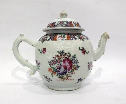 18th century Chinese porcelain teapot, bulbous body with 'S'-scroll handle, floral spray and sprig