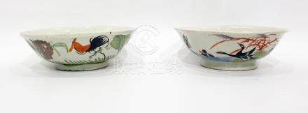 Pair Chinese porcelain bowls, each slightly octagonal and painted autour with cockerel and