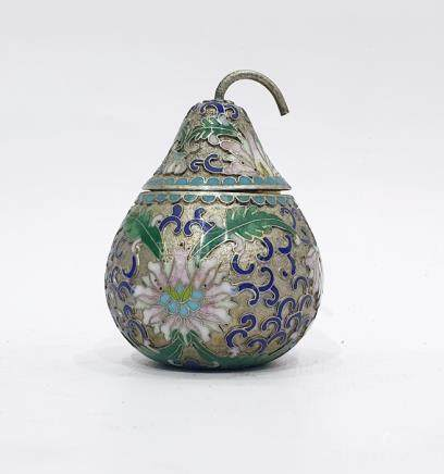 Chinese silver and cloisonne enamel lidded box in the form of a pear, allover flowerhead and foliage