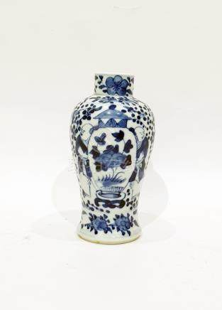 Small Chinese baluster vase decorated in underglaze blue with figures and precious objects, 14cm