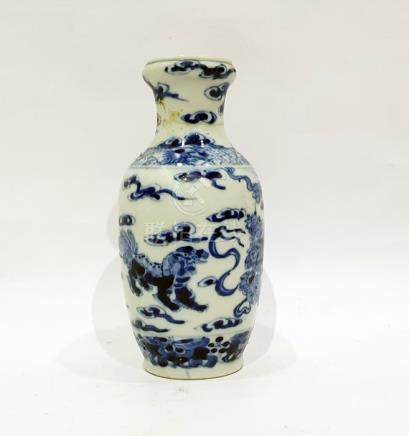 Chinese porcelain vase, slender ovoid and decorated in underglaze blue with dragons and cloud
