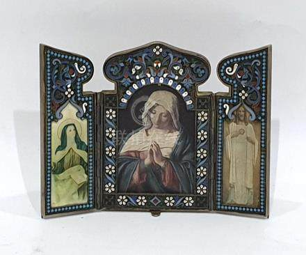 Probably late 19th century Russian silver and enamel pendant triptych folding frame, having ogee