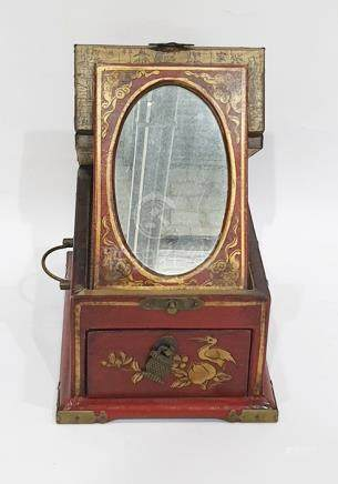 Chinese travelling vanity box, the hinged lift-up lid fitted oval easel mirror and having single