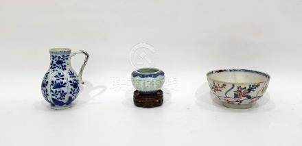 Small Chinese baluster jug with underglaze blue decoration and two Chinese porcelain small bowls (3)