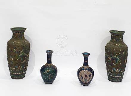 Pair of Japanese cloisonne enamel vases, ovoid with tall necks, 16cm high and a tall pair Eastern