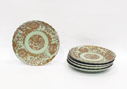 Set of five celadon ground porcelain plates with gilt and iron red decoration of birds, flowering