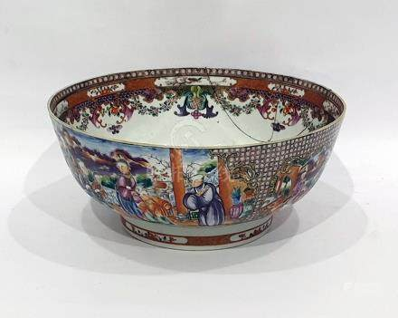 Antique Chinese porcelain punchbowl painted with shaped panels of figures in lakeside landscape
