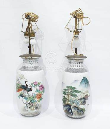 Pair Chinese porcelain vase table lamps, rouleau-pattern, decorated with exotic birds and