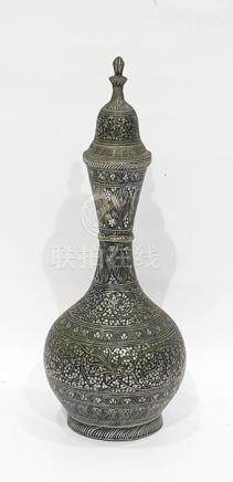 Antique Indo-Persian silver-coloured metal and black enamel vase, ball and shaft shape, having bands