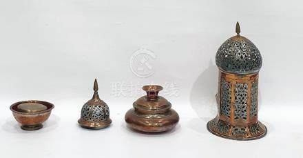 Indo-Persian copper and white metal hanging lantern with ogee top, allover scroll pierced, a similar