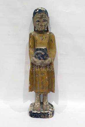 Burmese/Tibetan(?) composition standing male figure holding a container, all on square plinth