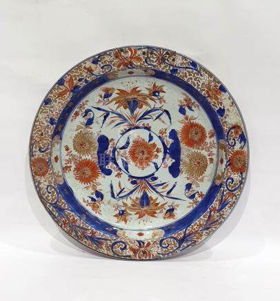 Chinese Imari porcelain charger with everted rim, allover chrysanthemums and other flowers, in