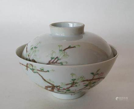 Chinese Famille Rose Porcelain Cover Bowl