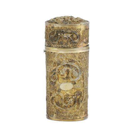 SMALL CHINESE FILIGREE METAL CASE, 19TH - 20TH CENTURY