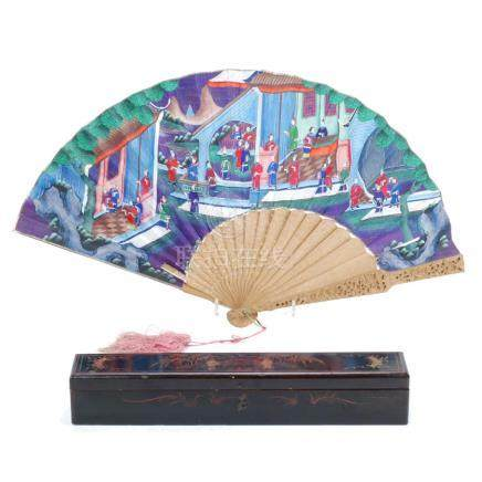 CHINESE CANTON SANDAL WOOD FAN, 19TH CENTURY