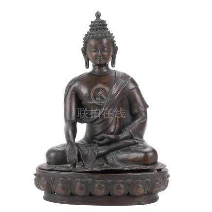 SINO- TIBETAN BRONZE BUDDHA, 20TH CENTURY